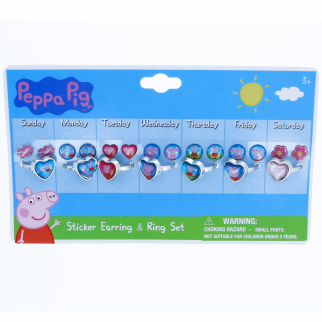 21pc Peppa Pig Rings and Earrings Set Days of the Week