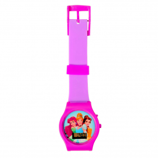 Disney Princess Kids Digital LCD Wrist Watch Learn to Tell Time - Purple