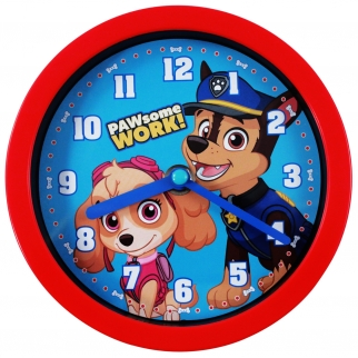 Nickelodeon Paw Patrol Chase and Skye Kids Playroom Bedroom Decor Dual-Function Clock Tabletop or Wall