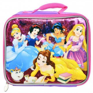 Disney Princess Girls Insulated Lunch Bag School Tote Sturdy Zip Closure