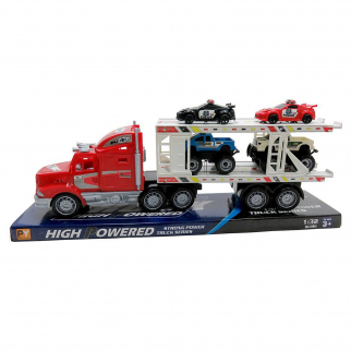 Friction Semi Truck Trailer Police Cars and Monster Trucks Carrier - Blue Truck