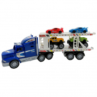 Friction Semi Truck Trailer Race Cars and Monster Trucks Carrier - Blue Truck
