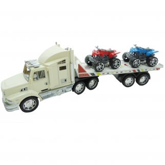 semi truck transport trailer hauler white boys toy friction power transport carrier freightliner