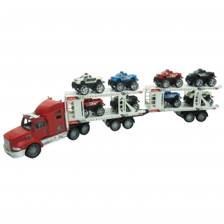 Semi Truck Hauler Trailer with 8 Monster Jeeps Friction Powered Boys Toy