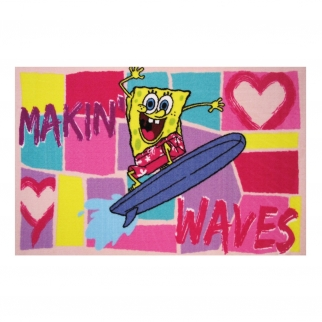 Spongebob Making Waves in Bikini Bottom Fun Rug 19x29
