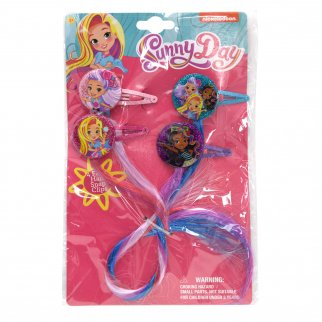 Nickelodeon Sunny Day Girls Snap Clip Barrettes Faux Hair