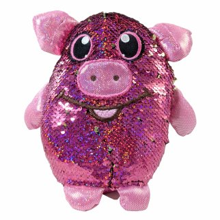 "Shimmeez 8"" Polly Pig Reversible Sequin Plush Stuffed Animal"