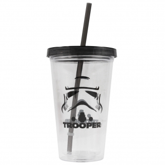 Star Wars 16 Ounce Fun On the Go Travel Water Bottle Tumbler with Straw Stormtrooper