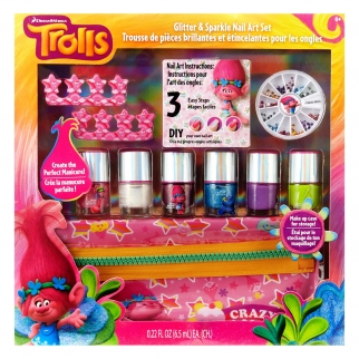 Dreamworks Trolls Glitter and Sparkle Princess Poppy Nail Art Dress Up Set 11pc