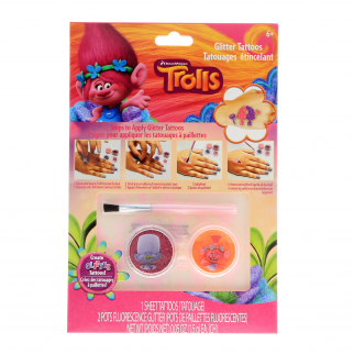 Dreamworks Trolls Girls Temporary Tattoos Sparkle Glitter Kids Make Up Accessory