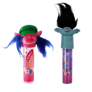 Dreamworks Trolls Flavored Lip Gloss with Troll Hair Cooper and Branch