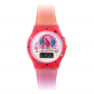 Dreamworks Trolls Poppy, Satin, Chenille Bedazzled Glitter Watch Girl's Accessory