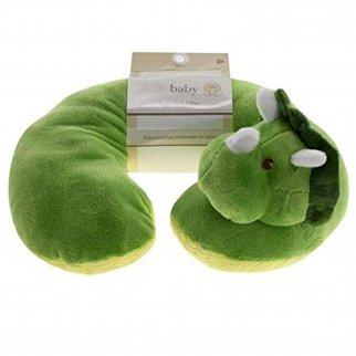 TychoTyke Baby Neck Pillow Cute Green Dinosaur Kids Travel Plush Extra Soft