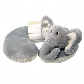 TychoTyke Baby Neck Pillow Cute Grey Elephant Kids Travel Plush Extra Soft