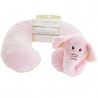 TychoTyke Baby Neck Pillow Cute Pink Elephant Kids Travel Plush Extra Soft