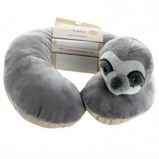 TychoTyke Baby Neck Pillow Cute Grey Sloth Kids Travel Plush Extra Soft