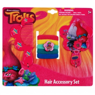 Dreamworks Trolls Movie Princess Poppy and Guy Diamond pink comb, hand mirror, hair ties girls dress up