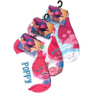 3pk pink Trolls Princess Poppy Ankle Socks Size 6-8.5