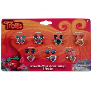 21pc Dreamworks Trolls Girls Rings and Earrings Set Days of the Week