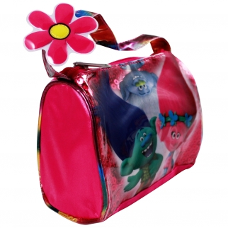 Dreamworks Trolls Satin Handbag Girls Dress Up Purse Featuring Poppy, Branch, and Guy Diamond