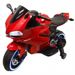 TychoTyke Kids Ride On Motorcycle Tron Bike 12V Battery LED Lights USB - Red