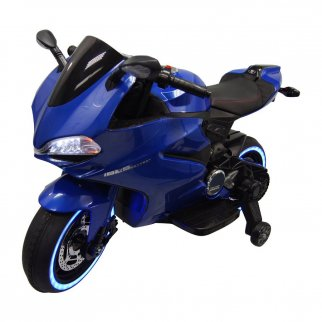 Kids Ride On 12V LIGHT UP Motorcycle Tron Bike Battery Power Car - Blue