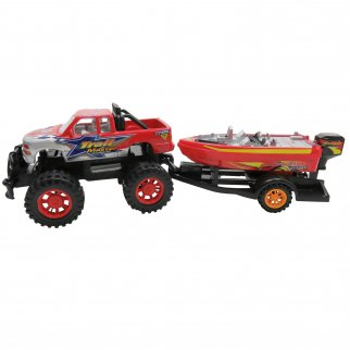 Speed Max King Friction Power Monster Truck Speed Boat Hauler Play Set