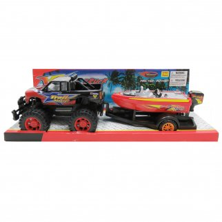Friction Power Car Trail Master Monster Truck and Speed Boat Retail View