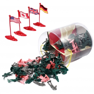 Action Figures Army Men Soldier Bucket Playset with Tanks, Planes, Flags & More
