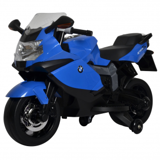 BMW Ride On Bike Battery Powered 3 Speed Motorcycle with Training Wheels - Blue