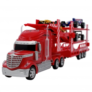 1:28 RC Race Car Transport Carrier Remote Control Semi Truck Toy
