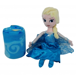 Disney Frozen Elsa Girls and Kids Sized Fleece Throw Blanket with Princess Elsa Doll in Blue