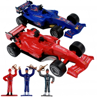 2 Formula One Racing Cars Friction Vehicle Playset Toy with Lights and Sound and 3 Toy Figure Drivers for Pretend Play