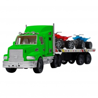 Semi truck with multi colored ATVs carrier