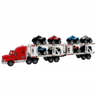 Deluxe Semi Truck Auto Hauler in Bright and Fiery Red