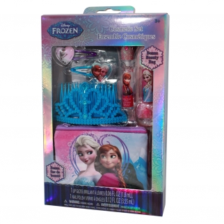Disney Frozen Sparkly Princess Kids and Girls Toy Makeup and Cosmetic Set with Tiara, Grape Lip gloss, Nail Polish, Hair Clips, and Beauty Bag
