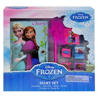 Disney Frozen Diary Set with Feather Pen, Ink Pad, Stamps, and Stickers for Kids and Girls