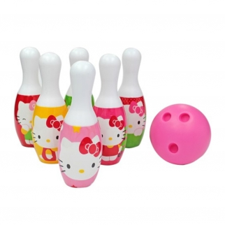 Hello Kitty Fun Interactive Play Pink 6 Pin Bowling Set