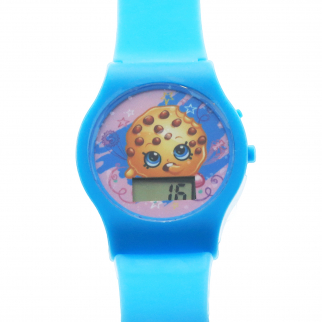 Shopkins Girls LCD Wrist Watch Digital Style Adjustable Strap - Blue