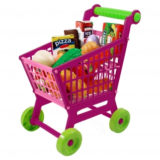 Shopping cart filled with pretend food