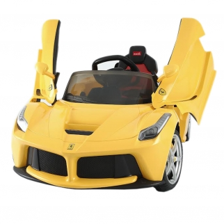 Ferrari LA 12V Kids Battery Powered Ride On Car in Yellow Butterfly Doors