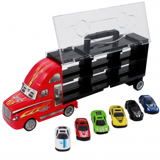 7pc Thunder Wheels Toy Truck Diecast Race Car Carrier Set