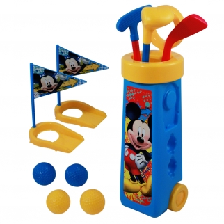 Mickey Mouse Deluxe Kids and Toddlers 12 Piece Interactive Play Toy Golf Clubs and Cart Set with 4 Golf Balls, 3 Clubs, 2 Practice Holes and Toy Flags