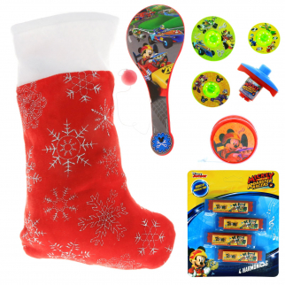 Disney Mickey Mouse Kids Holiday Stocking Bundle Pre-filled Toys and Gifts
