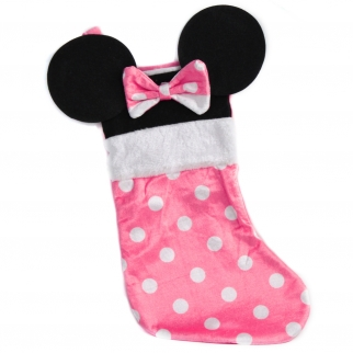 "Disney Minnie Mouse Ears Velour 18"" Kids Christmas Stocking"