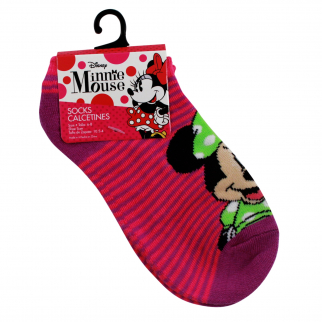 Disney Minnie Mouse Girls Ankle Socks Kids Apparel Pink and Purple Size 6-8