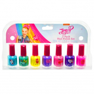 JoJo Siwa Girls Nail Polish Gift Set 7 Bottles Kids Cosmetics Fashion Make Up