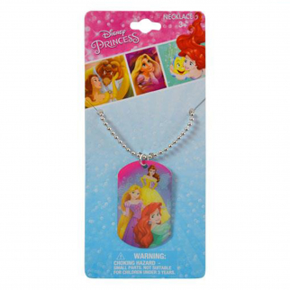 Disney Princess Metal Dog Tag Necklace Chain Kids Jewelry - Ariel Belle Rapunzel