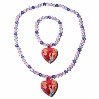 Disney Princess Girls Jewelry Necklace & Bracelet (Dark Pink)