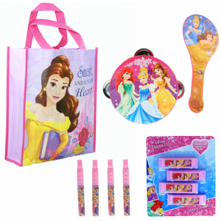 Disney Princess Kids Stocking Stuffer Tote Bag Bundle Toys Gift Set